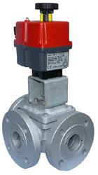 12/24V T Port Mixing Ball Valve, Failsafe Electric Actuator