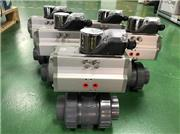 Pneumatically Actuated GF PVC 546 ball valves heading out to customer in USA
